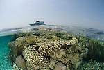 Split level coral reef shallows with kimberley Escape.Rowley Shoals, Western Australia