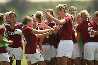 9 September 2007: Shari Summers kicks the game-winning penalty kick during Stanford's 2-1 overtime win over #2 Notre Dame at Buck Shaw Stadium in Santa Clara, CA. Christen Press, Kelley O'Hara, Allison Falk, Alex Gamble, and Lauren Shapiro are pictured.