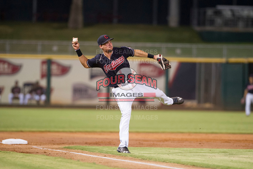 AZL Indians third baseman Henry Pujols (28) prepares to throw a ball to first base against the AZL Padres on August 30, 2017 at Goodyear Ball Park in Goodyear, Arizona. AZL Padres defeated the AZL Indians 7-6. (Zachary Lucy/Four Seam Images)