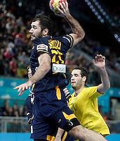 Spain's Joan Canellas (l) and Australia's Ognjen Matic during 23rd Men's Handball World Championship preliminary round match.January 15,2013. (ALTERPHOTOS/Acero) /NortePhoto