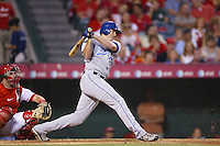 Mark Teahen of the Kansas City Royals during a game against the Los Angeles Angels in a 2007 MLB season game at Angel Stadium in Anaheim, California. (Larry Goren/Four Seam Images)