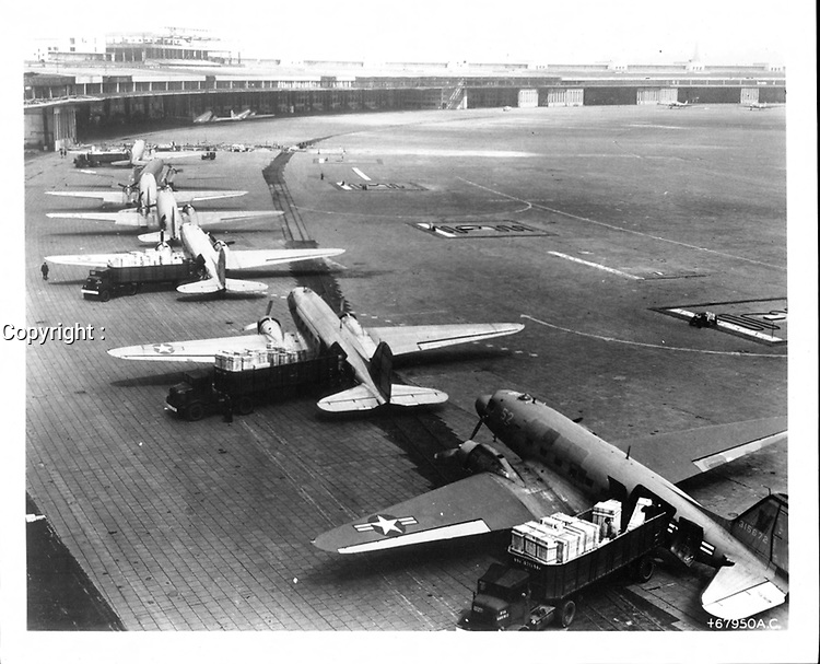 about the 16th June 1948, the Government of the Union of Soviet Socialist Republics imposed an illegal land blockade on the city of Berlin, Germany. The only method of supplying the Western Sector of Berlin was by air. On 8 July 1948, the Engineer Branch initiated the construction of additional facilities at Tempelhof Airbase. Soon after completion it was evident that additional facilities were imperative. The Engineer Branch was ordered on 4 August to construct an entire airfield with supporting facilities to be located at Tegel in the French Sector of Berlin<br /> <br /> PHOTO : Office of History, HQ, U.S. Army Corps of Engineers