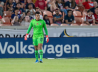 HOUSTON, TX - JUNE 13: Adrianna Franch #21 of the USWNT looks to the ball during a game between Jamaica and USWNT at BBVA Stadium on June 13, 2021 in Houston, Texas.