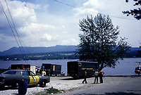 August 5, 1978 File Photo - Surete du Quebec (SQ) policemen on the side of  Lac d'Argent ( or Silver Lake) where a bus carrying handicaped people plunged into ,<br /> after its brakes failed. <br /> 41 passengers drowned