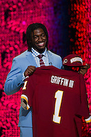 The second overall pick quarterback Robert Griffin III (Baylor) during the first round of the 2012 NFL Draft at Radio City Music Hall in New York, NY, on April 26, 2012.