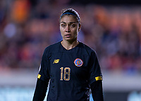 HOUSTON, TX - FEBRUARY 03: Priscilla Tapia #18 of Costa Rica looks to the ball during a game between Costa Rica and USWNT at BBVA Stadium on February 03, 2020 in Houston, Texas.