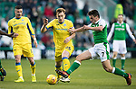 Hibs v St Johnstone…18.11.17…  Easter Road…  SPFL<br />Liam Craig gets past John McGinn<br />Picture by Graeme Hart. <br />Copyright Perthshire Picture Agency<br />Tel: 01738 623350  Mobile: 07990 594431