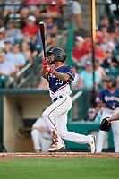 Rochester Red Wings center fielder Byron Buxton (25) follows through on a swing during a game against the Pawtucket Red Sox on July 4, 2018 at Frontier Field in Rochester, New York.  Pawtucket defeated Rochester 6-5.  (Mike Janes/Four Seam Images)