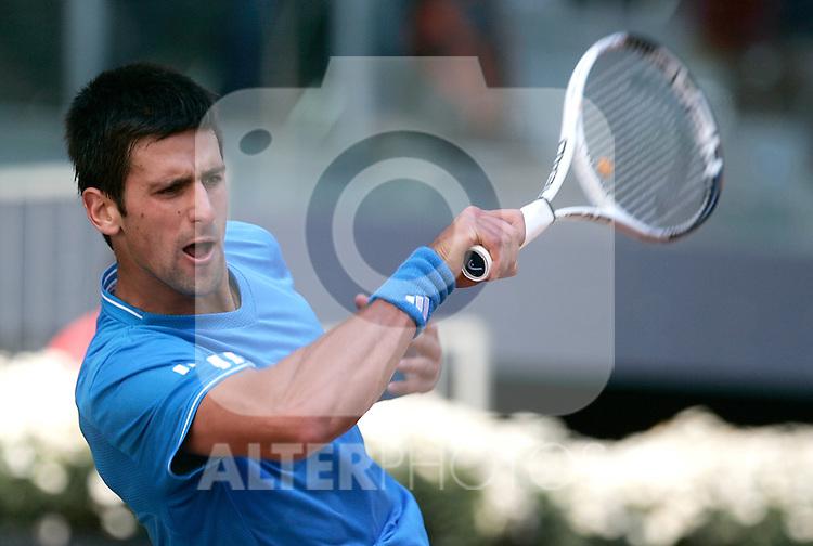 Serbia's Novak Djokovic during his Madrid Open quarter final match. May 15, 2009. (ALTERPHOTOS/Alvaro Hernandez)
