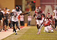 NWA Democrat-Gazette/MICHAEL WOODS • @NWAMICHAELW<br /> Texas Tech receiver Quan Shorts tries to get past Arkansas defender Dre Greenlaw in the 4th quarter of Saturday nights game against Texas Tech at Razorback Stadium in Fayetteville.