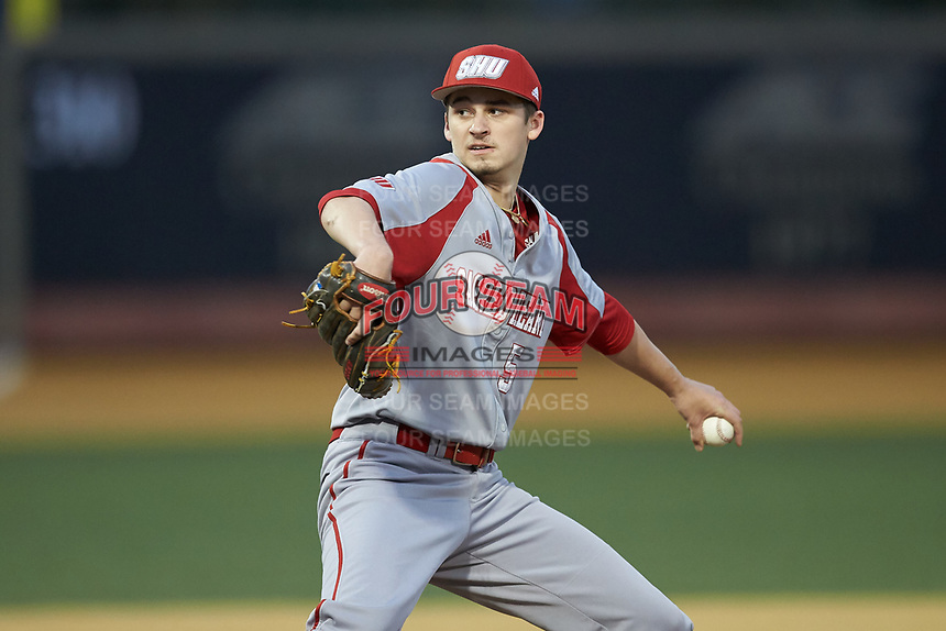 Sacred Heart Pioneers relief pitcher Luke Hansen (5) in action against the Wake Forest Demon Deacons at David F. Couch Ballpark on February 15, 2019 in  Winston-Salem, North Carolina.  The Demon Deacons defeated the Pioneers 14-1. (Brian Westerholt/Four Seam Images)