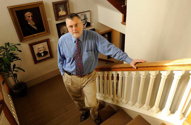 DR. Richard Fluck, Associate Dean of the Faculty, on the stairs of the Old Main on the campus of Franklin & Marshall College Friday, Dec. 3, 2010 in Lancaster, Pa. (Bradley C Bower/KeyStone Edge)