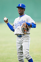 DJ Burt (2) of the Burlington Royals warms up in the outfield prior to the game against the Pulaski Mariners at Calfee Park on June 20, 2014 in Pulaski, Virginia.  The Mariners defeated the Royals 6-4. (Brian Westerholt/Four Seam Images)