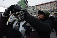 Demonstrators wearing riot gear to prepare for the next clashes to  protest against new draconian law to ban protestsacross the country.  Kiev. Ukraine