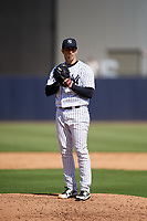 New York Yankees relief pitcher Luis Cessa (85) looks in for the sign during a Grapefruit League Spring Training game against the Toronto Blue Jays on February 25, 2019 at George M. Steinbrenner Field in Tampa, Florida.  Yankees defeated the Blue Jays 3-0.  (Mike Janes/Four Seam Images)