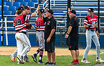 WATERBURY, CT 072821JS17 CT Gamecocks coaches Jim Alberto and Frank Melillo, congratulate their players after defeating the Michigan Bulls in the opening round of the Mickey Mantle World Series at Municipal Stadium in Waterbury. <br /> Jim Shannon Republican American