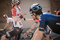 Tim Wellens (BEL/Lotto-Soudal) stretching mid-race<br /> <br /> 54th Amstel Gold Race 2019 (1.UWT)<br /> One day race from Maastricht to Berg en Terblijt (NED/266km)<br /> <br /> ©kramon