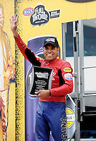 Sept. 16, 2011; Concord, NC, USA: NHRA pro stock motorcycle rider Hector Arana Sr. during qualifying for the O'Reilly Auto Parts Nationals at zMax Dragway. Mandatory Credit: Mark J. Rebilas-US PRESSWIRE