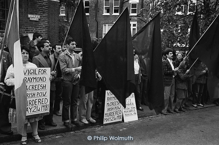 Sinn Fein picket of the Hampstead home of Labour Party leader Michael Foot during the Northern Irish prisoners' hunger strike campaign.