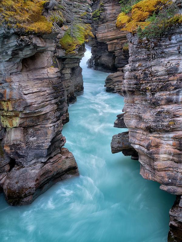 Narow canyon at Athebasca Falls. Jasper National Park, Alberta, Canada
