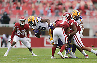 LSU wide receiver Terrace Marshall Jr. (6) carries the ball, Saturday, November 21, 2020 during the third quarter of a football game at Donald W. Reynolds Razorback Stadium in Fayetteville. Check out nwaonline.com/201122Daily/ for today's photo gallery. <br /> (NWA Democrat-Gazette/Charlie Kaijo)