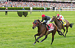 Point of Entry, ridden by John Velazquez, wins the Woodford Reserve Manhattan H. (Grade I) on Belmont Stakes Day at Belmont Park in Elmont, New York on June 7, 2013.