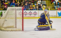 29 December 2013:  Canisius College Golden Griffins goaltender Keegan Asmundson, a Junior from Inver Grove Heights, MN, gives up a power play goal to Michael Paliotta in the second period against the University of Vermont Catamounts at Gutterson Fieldhouse in Burlington, Vermont. The Catamounts defeated the Golden Griffins 6-2 in the 2013 Sheraton/TD Bank Catamount Cup NCAA Hockey Tournament. Mandatory Credit: Ed Wolfstein Photo *** RAW (NEF) Image File Available ***