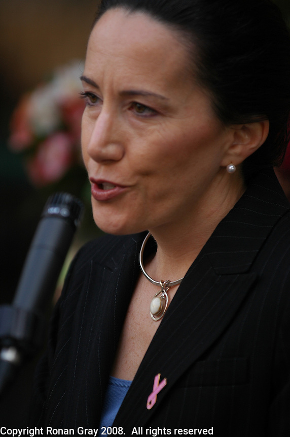 Dr Julie Barone speaks at a press conference outside the Liberty Station VONS store where she accepted a $200,000 check from VONS on behalf of the Y-Me Breast Cancer Organization, San Diego, Califronia, Wednesday March 26, 2008.