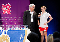 30 MAY 2012 - LONDON, GBR - Commentator Paul Bray (left) asks the Great Britain women's captain Lynn McCafferty her thoughts on the team's opposition during the London 2012 Olympic Games Handball Draw at the National Sports Centre in Crystal Palace, Great Britain (PHOTO (C) 2012 NIGEL FARROW)