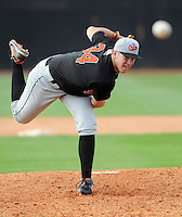 August 1, 2009: RHP Matthew Hobgood (34) of the Bluefield Orioles, 2009 first round draft pick of the Baltimore Orioles, pitches at Howard Johnson Field in Johnson City, Tenn. He was 2008 Los Angeles Times Player of the Year and Gatorade National Player of the Year out of Norco High School in Norco, Calif. Photo by:  Tom Priddy/Four Seam Images