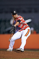 Aberdeen Ironbirds pitcher Christian Turnipseed (31) delivers a pitch during a game against the Tri-City ValleyCats on August 6, 2015 at Ripken Stadium in Aberdeen, Maryland.  Tri-City defeated Aberdeen 5-0 in a combined no-hitter.  (Mike Janes/Four Seam Images)