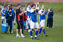 Stranraer boss Keith Knox and his players after losing the play offs ....
