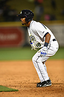 Second baseman Luis Carpio (18) of the Columbia Fireflies in a game against the Augusta GreenJackets on Opening Day, Thursday, April 6, 2017, at Spirit Communications Park in Columbia, South Carolina. Columbia won, 14-7. (Tom Priddy/Four Seam Images)
