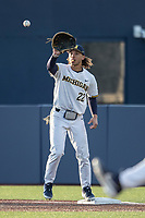 Michigan Wolverines first baseman Jordan Brewer (22) waits for a throw against the Western Michigan Broncos on March 18, 2019 in the NCAA baseball game at Ray Fisher Stadium in Ann Arbor, Michigan. Michigan defeated Western Michigan 12-5. (Andrew Woolley/Four Seam Images)