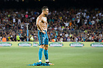 Cristiano Ronaldo of Real Madrid celebrating his score the second of Real Madrid shirtless during the Supercopa de Espana Final 1st Leg match between FC Barcelona and Real Madrid at Camp Nou on August 13, 2017 in Barcelona, Spain. Photo by Marcio Rodrigo Machado / Power Sport Images