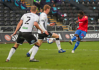 20th April 2021; Liberty Stadium, Swansea, Glamorgan, Wales; English Football League Championship Football, Swansea City versus Queens Park Rangers; Osman Kakay of Queens Park Rangers shoots at goal
