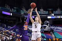 GREENSBORO, NC - MARCH 6: Georgia Pineau #5 of Boston College shoots over Nique Cherry #35 of Clemson University during a game between Clemson and Boston College at Greensboro Coliseum on March 6, 2020 in Greensboro, North Carolina.