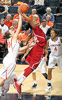 CHARLOTTESVILLE, VA- December 1: Sasha Chaplin #22 of the Indiana Hoosiers grabs a rbound in front of Chelsea Shine #50 of the Virginia Cavaliers during the game on December 1, 2011 at the John Paul Jones Arena in Charlottesville, Virginia. Virginia defeated Indiana 65-49. (Photo by Andrew Shurtleff/Getty Images) *** Local Caption *** Chelsea Shine;Sasha Chaplin