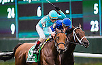 ELMONT, NY - OCTOBER 08: Lady Eli #5, ridden by Irad Ortiz, wins the Flower Bowl Invitational on Jockey Club Gold Cup Day at Belmont Park on October 8, 2016 in Elmont, New York. (Photo by Doug DeFelice/Eclipse Sportswire/Getty Images)