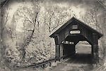 Infrared image of covered bridge in Vermont. Processed with vintage postcard treatment