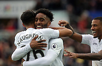 (L-R) Kyle Naughton, Leroy Fer and Luciano Narsingh of Swansea City celebrate the first goal scored by their team during the Premier League match between Swansea City and Burnley at The Liberty Stadium, Swansea, Wales, UK. Saturday 04 March 2017