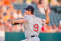 Greenville Drive starting pitcher Teddy Stankiewicz (19) delivers a pitch to the plate against the Charleston RiverDogs at Joseph P. Riley, Jr. Park on May 26, 2014 in Charleston, South Carolina.  The Drive defeated the RiverDogs 11-3.  (Brian Westerholt/Four Seam Images)