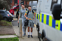 NEWPORT, WALES - FEBRUARY 16: (L-R) Joe Day and Robbie Willmott of Newport County arrive for the FA Cup Fifth Round match between Newport County and Manchester City at the Rodney Parade on February 16, 2019 in Newport, Wales. (Photo by Athena Pictures/Getty Images)