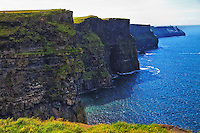 Looking along the beautiful scenic Cliffs of Moher in southwest Ireland.
