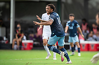 LAKE BUENA VISTA, FL - JULY 23: Theo Bair #14 of Vancouver Whitecaps FC asking for the ball during a game between Chicago Fire and Vancouver Whitecaps at Wide World of Sports on July 23, 2020 in Lake Buena Vista, Florida.