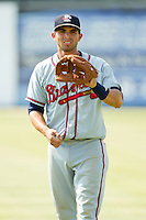 Rome Braves shortstop Jose Peraza (4) warms up in the outfield prior to the game against the Kannapolis Intimidators at CMC-Northeast Stadium on June 16, 2013 in Kannapolis, North Carolina.  The Intimidators defeated the Braves 6-4.   (Brian Westerholt/Four Seam Images)