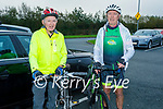 Ready for their cycle for the Samaritans and Kerry Hospice fundraiser at John Mitchels on Saturday morning, l to r: John Courtney (Annagh, Tralee) and Dermot O'Connor (Killarney).