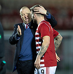 Hamilton Accies v St Johnstone…06.02.19…   New Douglas Park    SPFL<br />George Oakley gets a well done from Brian Rice at full time<br />Picture by Graeme Hart. <br />Copyright Perthshire Picture Agency<br />Tel: 01738 623350  Mobile: 07990 594431