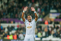 Sunday 9th November 2014<br /> Pictured: Ashley Williams applauds fans after the game <br /> Re: Barclays Premier League Swansea City v Arsenal at the Liberty Stadium, Swansea, Wales,UK