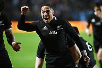 17th July 2021; Hamilton, New Zealand;  Aaron Smith celebrates a try. All Blacks versus Fiji, Steinlager Series, international rugby union test match. FMG Stadium Waikato, Hamilton, New Zealand.